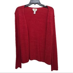 Talbots Red Cardigan Open Front Knit Sweater (M)